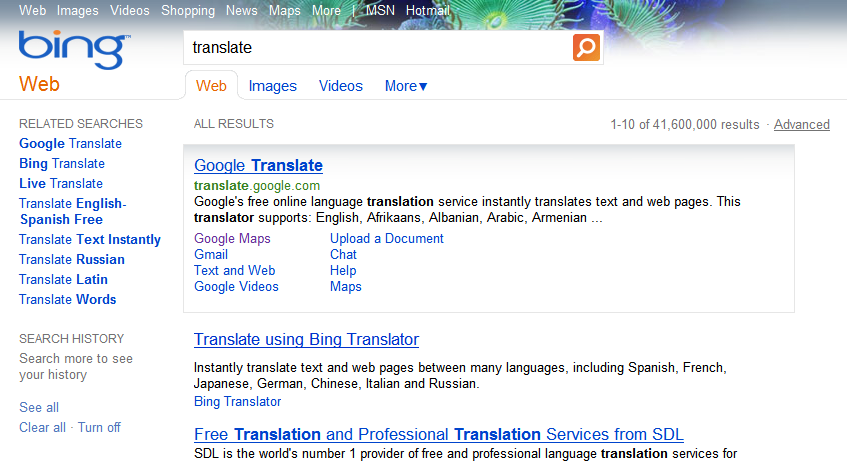 "Results for ""translate"" on @bing – MSFT accepting who's"